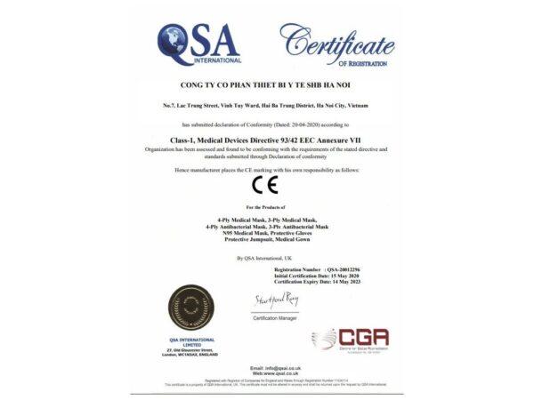 Certification of conformity EU for Face masks Kentko 4 layesrs