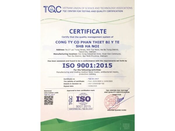 Certificte ISO 9001-2015 4layers Face masks Kenko