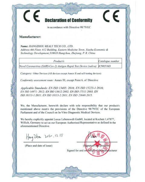 Certifikát testu Realy Tech antigen